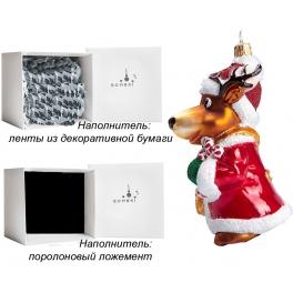 Стеклянная елочная игрушка ручной работы «Олень Карамелька», производство Bombki, Польша