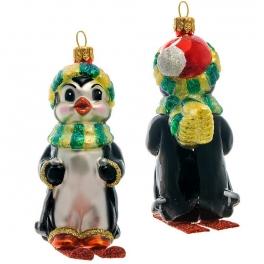 Елочная игрушка «Пингвин на лыжах», материал: стекло, производство Польша