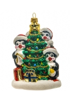 Елочная игрушка «Пингвины у елочки»