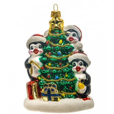 Стеклянная елочная игрушка ручной работы «Пингвины у елочки», производство Польша