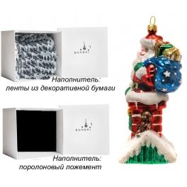 Стеклянная елочная игрушка «Санта на крыше», 8,5х15 см, производство Польша