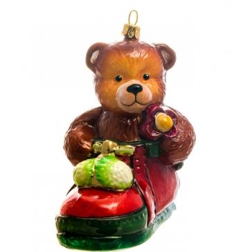 Елочная игрушка польского производства «Мишка в ботинке», коллекция Bombki