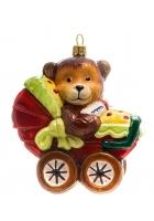 Елочная игрушка «Мишка в коляске»