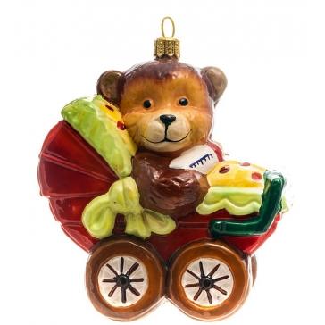 Елочная игрушка польского производства «Мишка в коляске», коллекция Bombki
