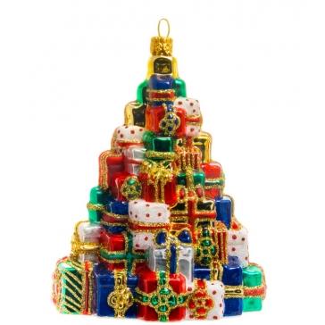 Стеклянная елочная игрушка ручной работы «Елка из подарков», производство Польша