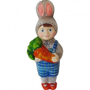 Стеклянная ёлочная игрушка Детский праздник «Мальчик-зайчик», Bombki, Польша