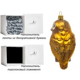 Елочная игрушка «Сова на ветке», материал: стекло, производство Польша