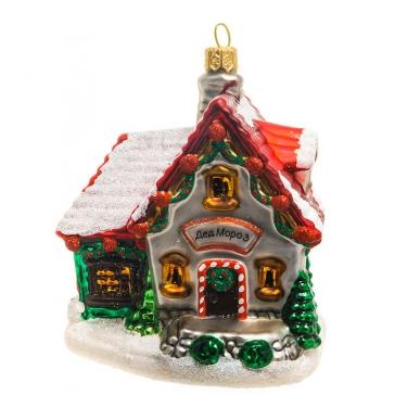 Стеклянная елочная игрушка ручной работы «Дом Деда Мороза», производство Bombki, Польша