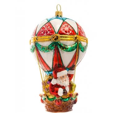 Елочная игрушка из стекла «Дед Мороз на воздушном шаре», Bombki, Польша