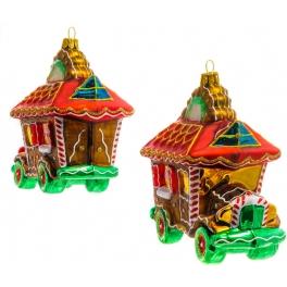 Стеклянная елочная игрушка «Пряничный автомобиль», коллекция Bombki, Польша