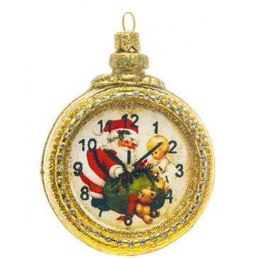 Стеклянная елочная игрушка «Часы Деда Мороза», ручная работа, производство Польша