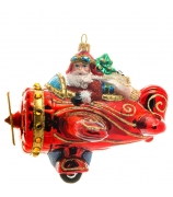 Елочная игрушка «Дед Мороз в самолете»