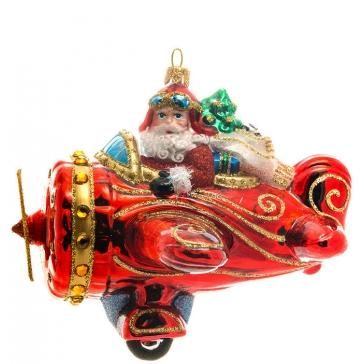 Елочная игрушка из стекла «Дед Мороз в самолете», Bombki, Польша