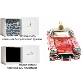 Елочная игрушка ручной работы «Спортивный автомобиль красный», производство Польша