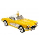 Елочная игрушка «Спортивный автомобиль желтый»
