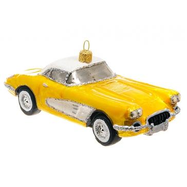 Елочная игрушка ручной работы «Спортивный автомобиль желтый», производство Польша