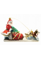Елочная игрушка «Дед Мороз на собачьей упряжке»