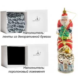 Елочная игрушка ручной работы «Дед Мороз на собачьей упряжке», производство Польша