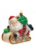 Елочная игрушка «Дед Мороз на санках»