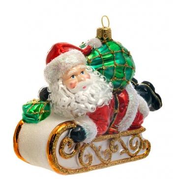 Елочная игрушка ручной работы «Дед Мороз на санках», 12,5х10 см, производство Польша