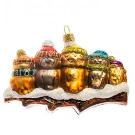 Стеклянная елочная игрушка ручной работы «Семья совушек», производство Bombki, Польша