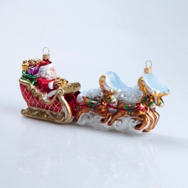 Елочная игрушка ручной работы «Упряжка Деда Мороза», Bombki, Польша