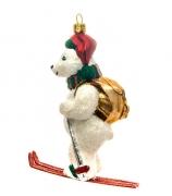 Елочная игрушка «Белый медведь на лыжах»