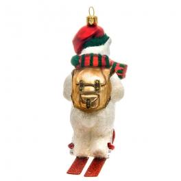 Стеклянная елочная игрушка «Белый медведь на лыжах», коллекция Bombki, Польша