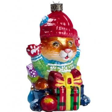 Стеклянная елочная игрушка «Котик с подарками», 11х6,8 см, производство Польша