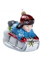 Елочная игрушка «Мальчик на санках»