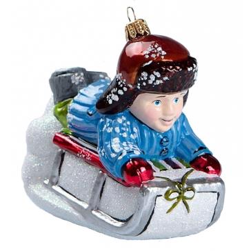 Елочная игрушка из стекла «Мальчик на санках», Bombki, Польша