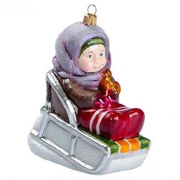 Елочная игрушка из стекла «Девочка на саночках», Bombki, Польша
