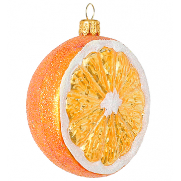 Елочная игрушка из стекла «Сладкий апельсин», Bombki, Польша