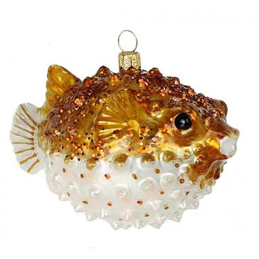 Елочная игрушка из стекла «Рыба Иглобрюшка», Bombki, Польша