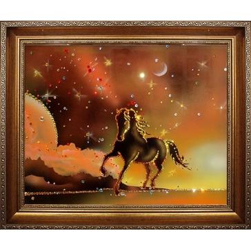 Картина Сваровски «Конь на закате»