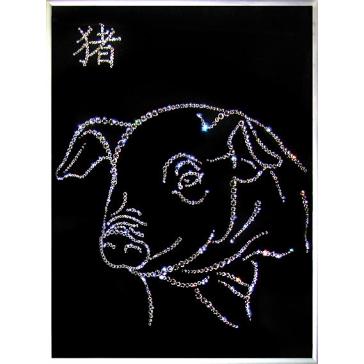 Картина Сваровски «Символ года Свинья», размер 30х40 см