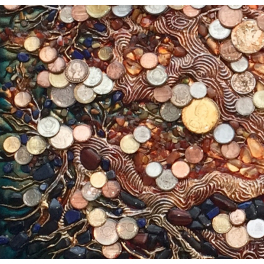 Панно с монетами «Дерево изобилия», настенной.
