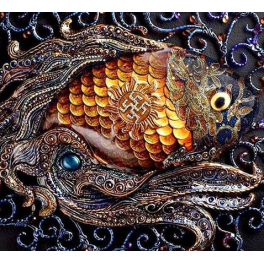 Дизайнерское настенное панно «Денежная рыбка» или «Золотая рыбка»