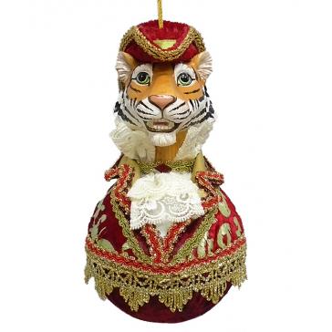 Елочное украшение «Тигр в шляпе», ручная работа