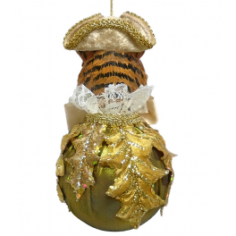 Елочное украшение из текстиля «Тигр на шаре», 13х18 см