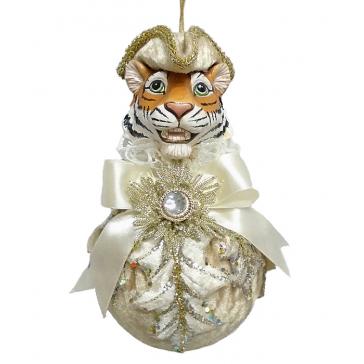 Елочное украшение из текстиля «Тигр на шаре», ручная работа