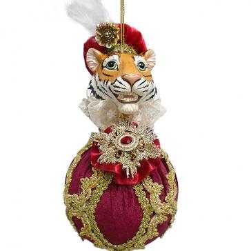 Елочное украшение «Синьор Тигр» в красном, ручная работа