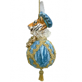 Елочное украшение «Синьор Тигр» в голубом, ручная работа