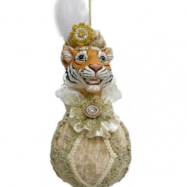 Елочное украшение «Синьор Тигр» в бежевом, ручная работа