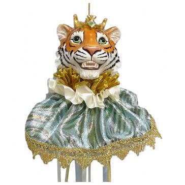 Елочное украшение «Тигр 2022» в голубом (украшение на бутылку)