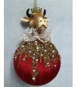 Елочное украшение «Бык на шаре»
