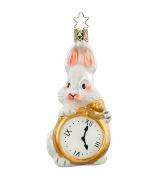Ёлочная игрушка «Белый кролик с часами»