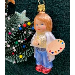 Стеклянная ёлочная игрушка «Юный художник»