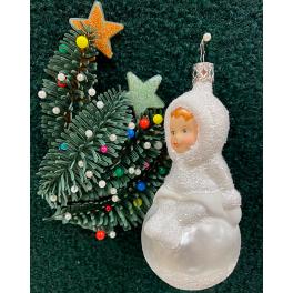 Стеклянная ёлочная игрушка «Снежные радости»
