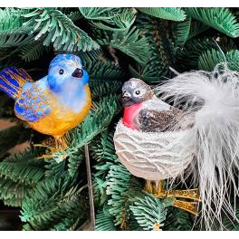 Стеклянная ёлочная игрушка «Птичка в гнезде», 7,5х6 см